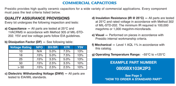 Commercial Ceramic Capacitors